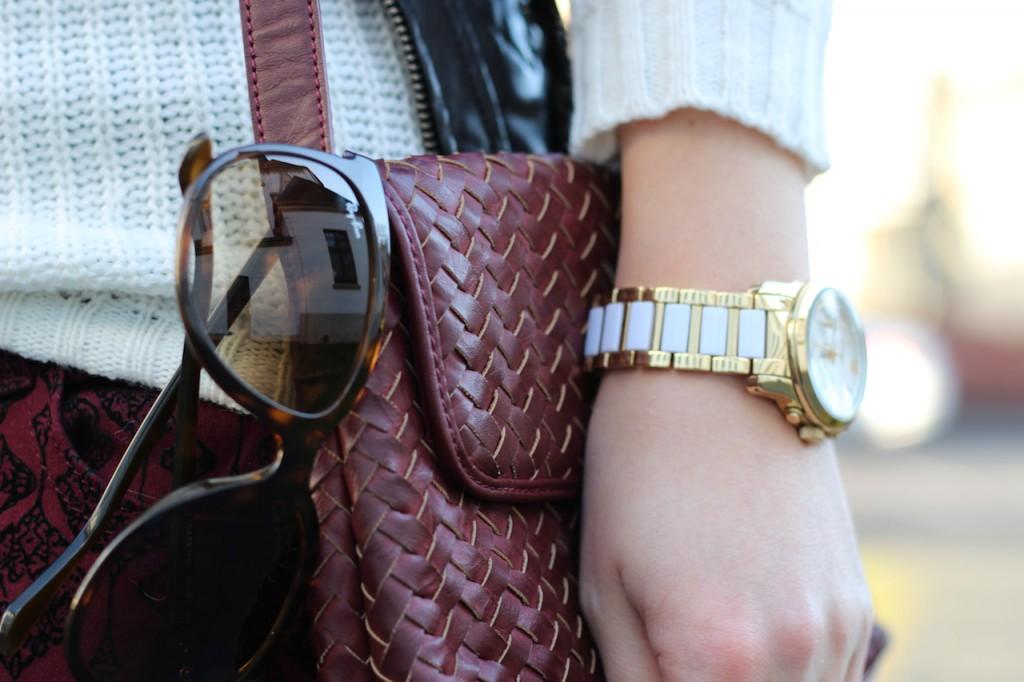 Gold Weiße Michael Kors Uhr Damen Cat-Eye Sonnenbrille RayBan Outfit Modeblog kombinieren