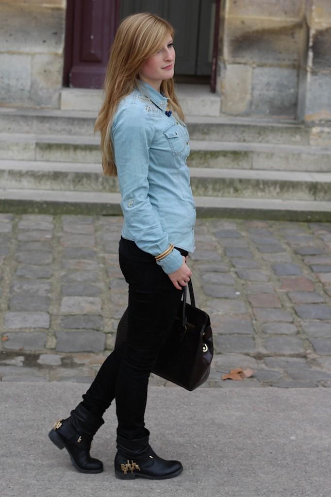 Jeans Bluse skinny Jeans Biker Boots streetstyle Paris OOTD Blog kombinieren