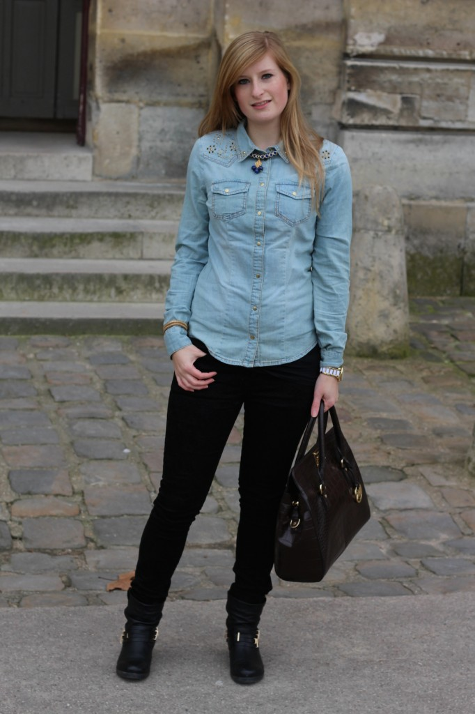 This outfit was taken during my Valentines trip to Paris - a jeans blouse can perfectly get combined with black pants.