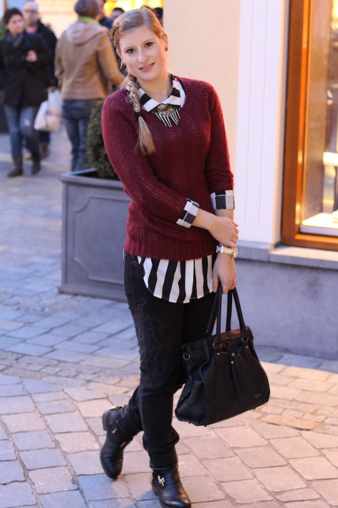 Shopping trip in Roermond - wearing a striped blouse and red pullover combination Fashion Blog Bonn.