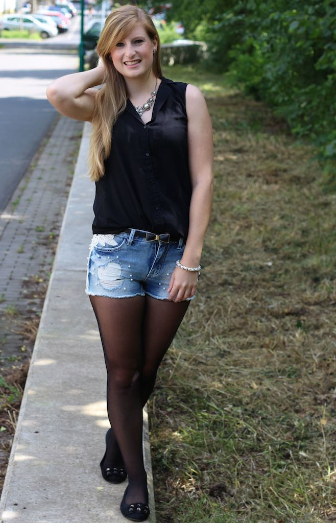 Pearl Hot Pants BrinisFashionBook Jeans Hotpants mit Perlen kombinieren Outfit Modeblog