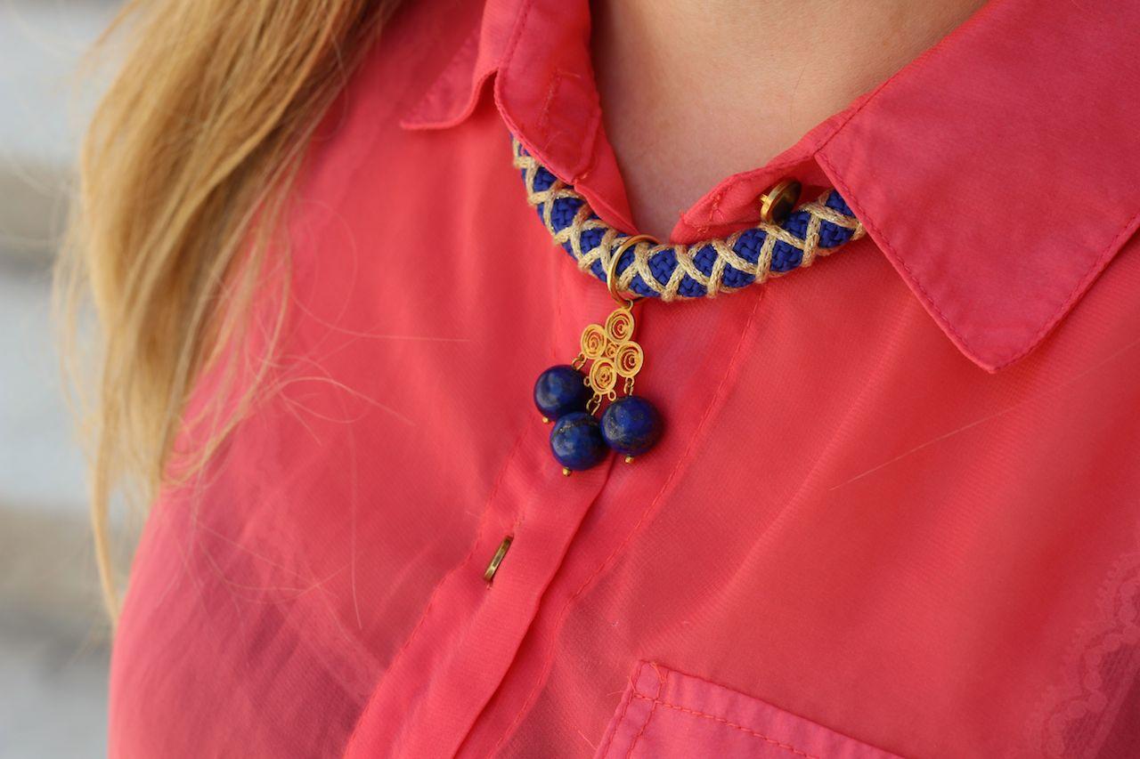 Twininas blaue Kette Sommer Pinke Bluse kombinieren Details Accessoires Blog Urlaub