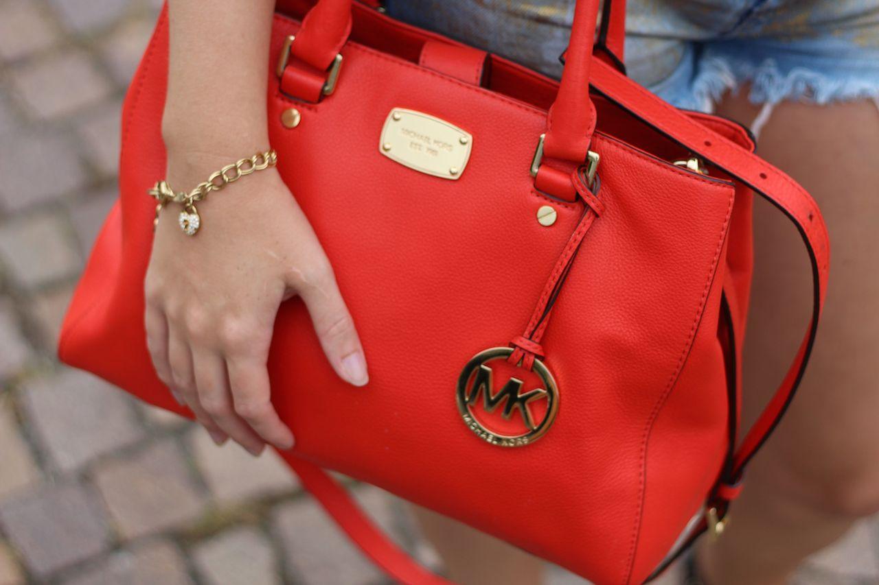 Orange Michael Kors Tasche goldenes Fossil Armband Accessoires Blog