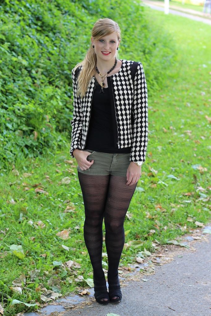 Muster Herbst Blazer Herbstmode schwarz weiß Modeblog