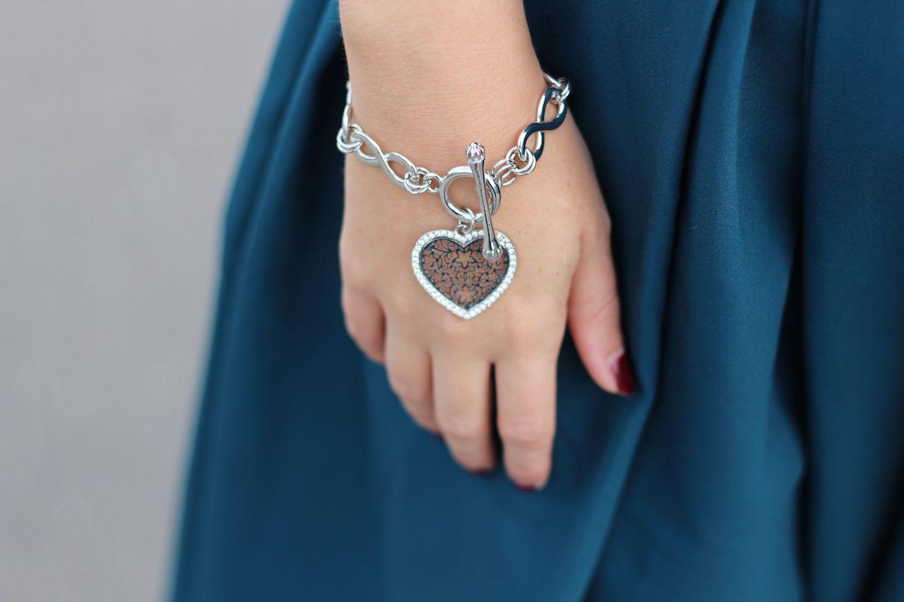 Silvity Armband Schmuck Silber Herzanhänger Details Modeblog Accessoires Silber