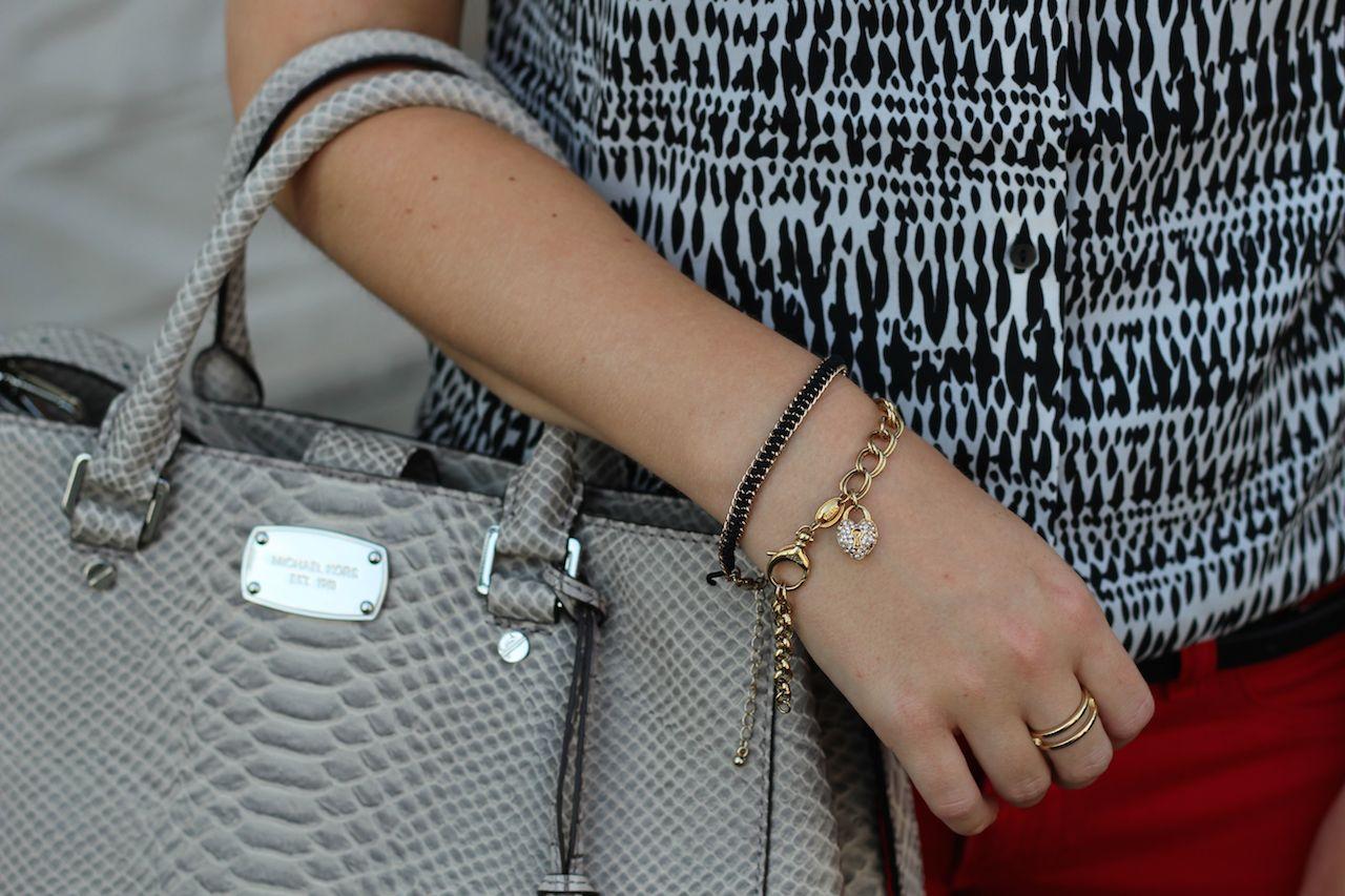 Michael Kors Handtasche grau und Fossil Armband