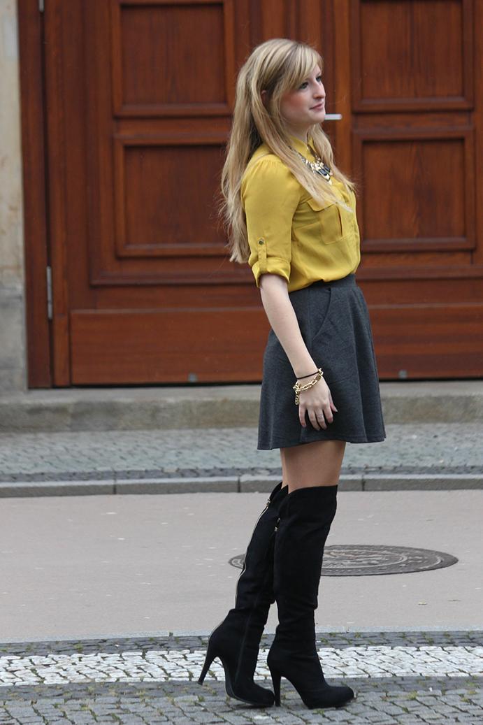 2 Outfit Overknees Fashion Week Streetstyle Modeblog Overknee Stiefel kombinieren