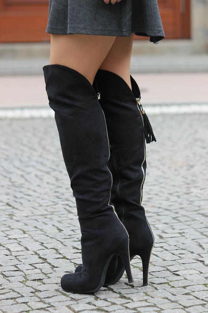4 Outfit Overknees Fashion Week Streetstyle Fashion Blog Overknee Stiefel kombinieren