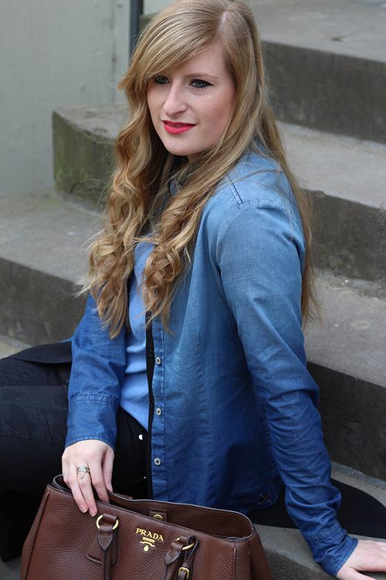 3 Denim on Denim Shirt New Look Fashion Blog Jeans mit Jeans kombinieren Outfit