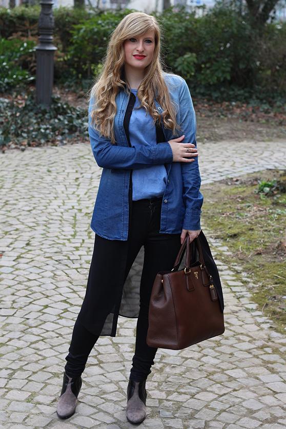 4 Dobule Denim Bluse Shirt Fashion Blog Köln Jeans mit Jeans kombinieren Outfit