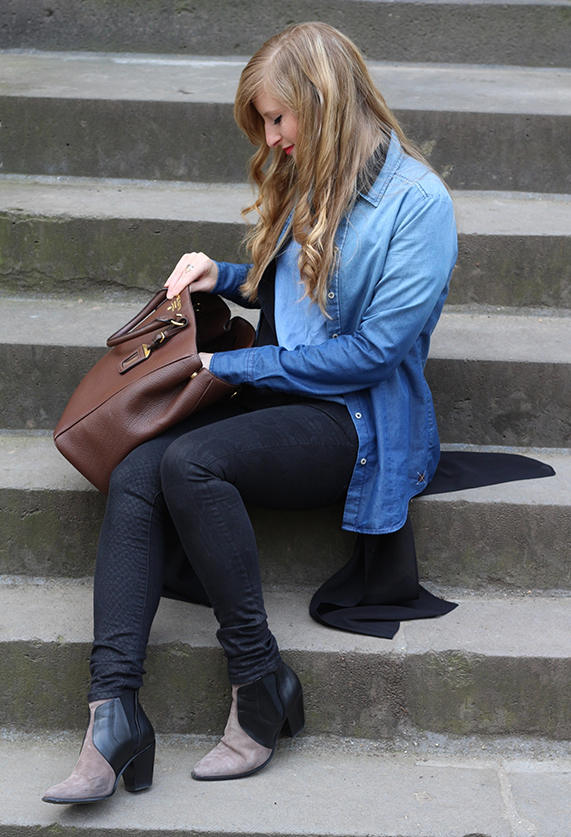 5 Denim on Denim Jeans Look Blog Jeans mit Jeans kombinieren Outfit