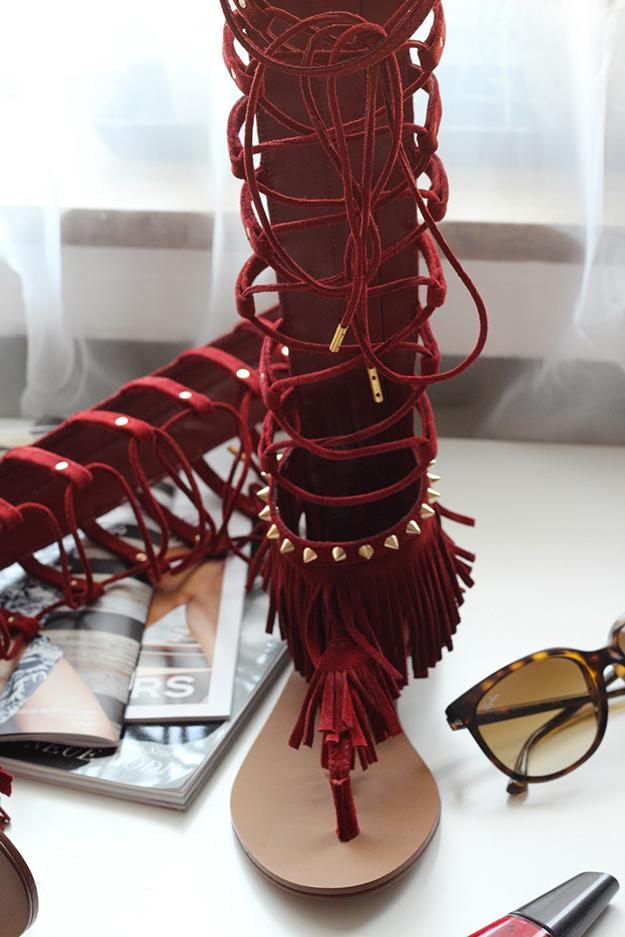 2 Sommertrend 2015 Gladiator Sandalen rot Stradivarius Fashion