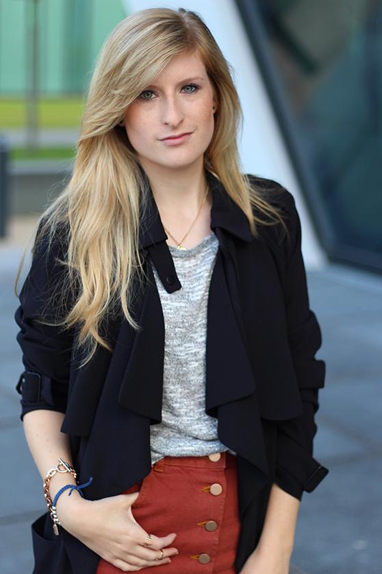3 Fashion Blog Köln ootd Jeansrock Rostrot Asos und Trenchcoat