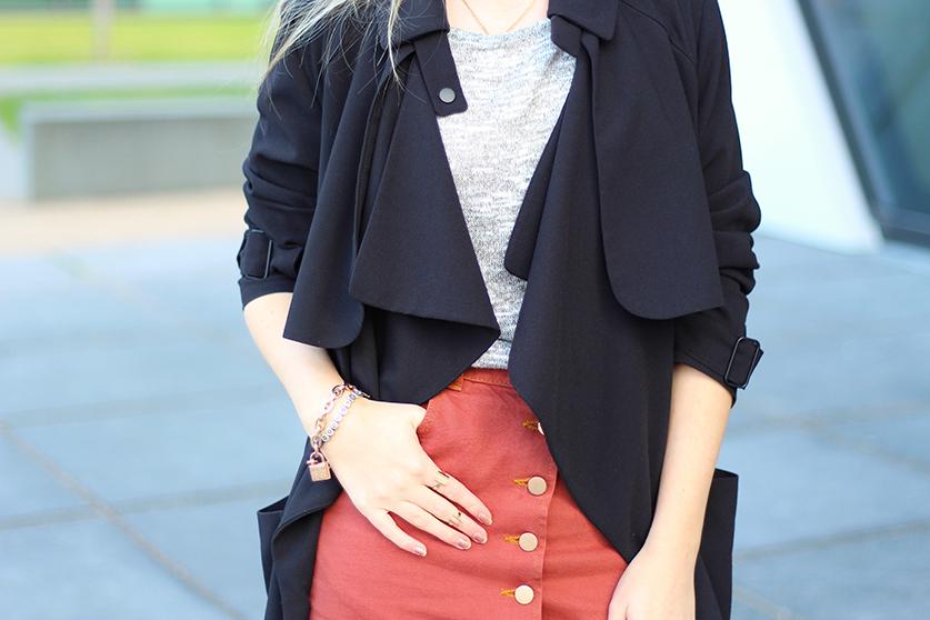 5 Mode Blog Köln ootd Jeansrock mit Knopfleiste und Trenchcoat styling