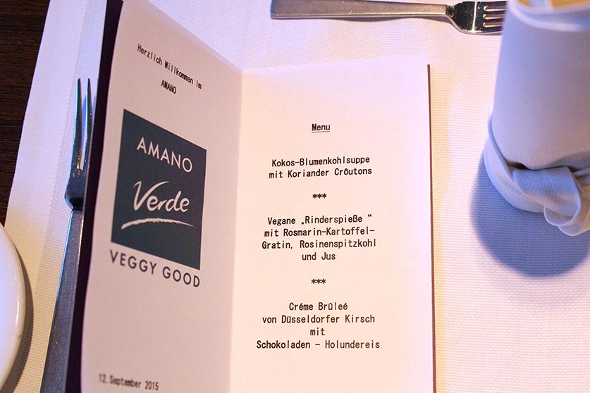 Vegan und Vegetarisches Restaurant Amano Verde Düsseldorf Vegane Speisekarte