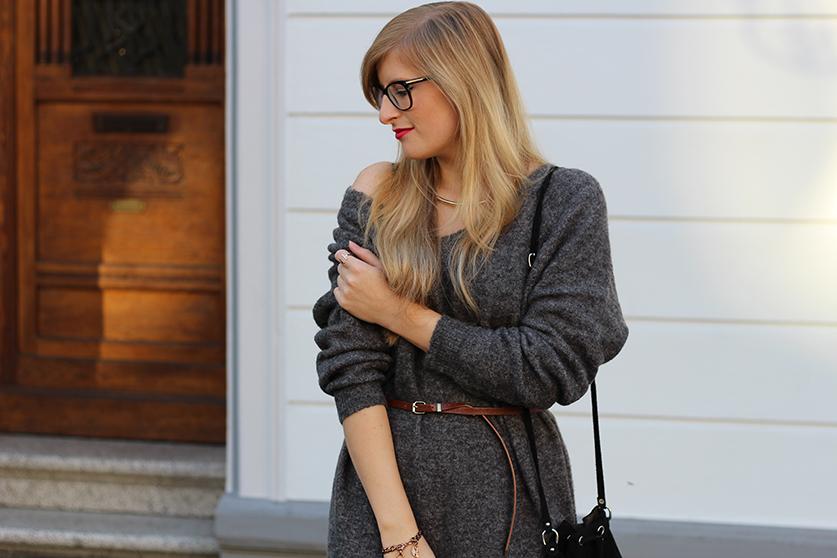 Graues Wollkleid Asos kombinieren brauner gürtel mit Tom Ford Brille Modeblog Deutschland Köln Wintermode 4