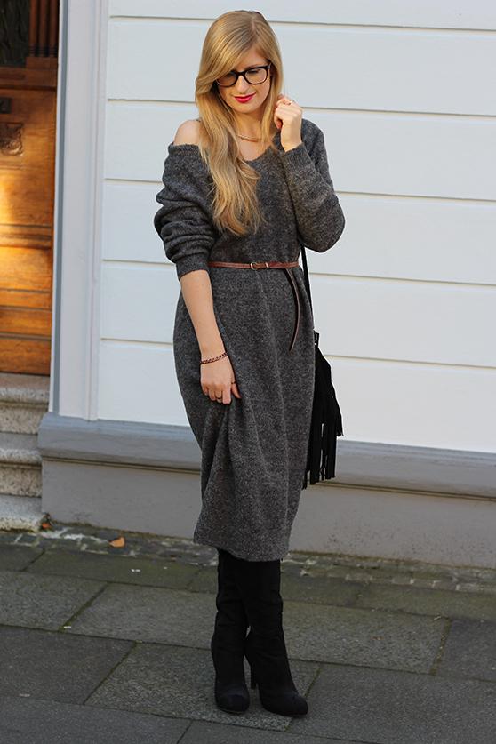 Graues Wollkleid Asos kombinieren schwarze Overknees mit goldenen Schmuck Fashionblog Deutschland Köln Wintermode 8