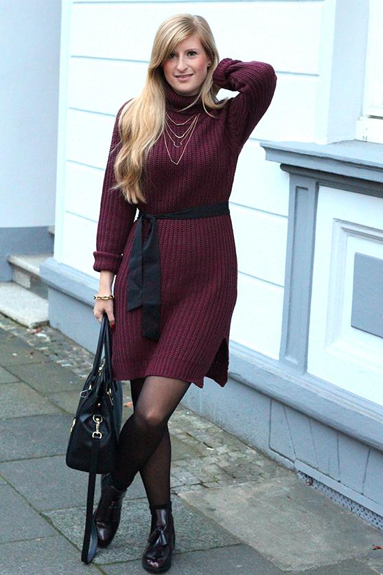 Herbst Outfit Wollkleid Asos mit schwarzer Michael Kors Tasche Modeblog Deutschland Köln 1