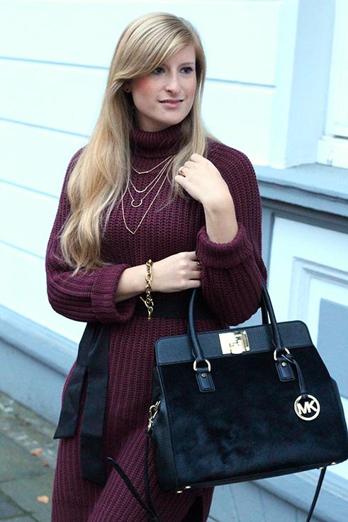 Herbst Outfit Wollkleid Asos mit schwarzer Michael Kors Tasche Modeblog Deutschland Köln 2