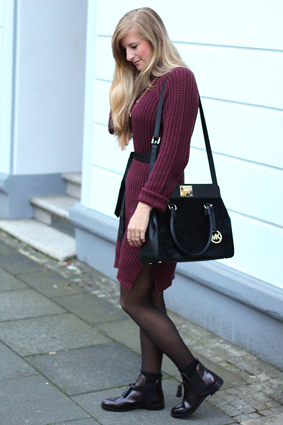 Herbst Outfit Wollkleid Asos mit schwarzer Michael Kors Tasche Modeblog Deutschland Köln 3