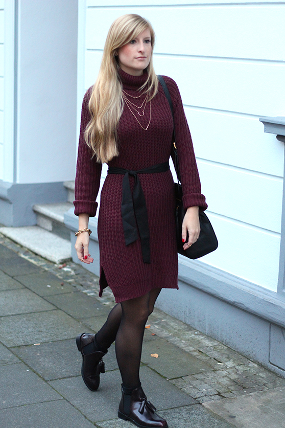 Herbst Outfit Wollkleid Asos mit schwarzer Michael Kors Tasche Modeblog Deutschland Köln 5