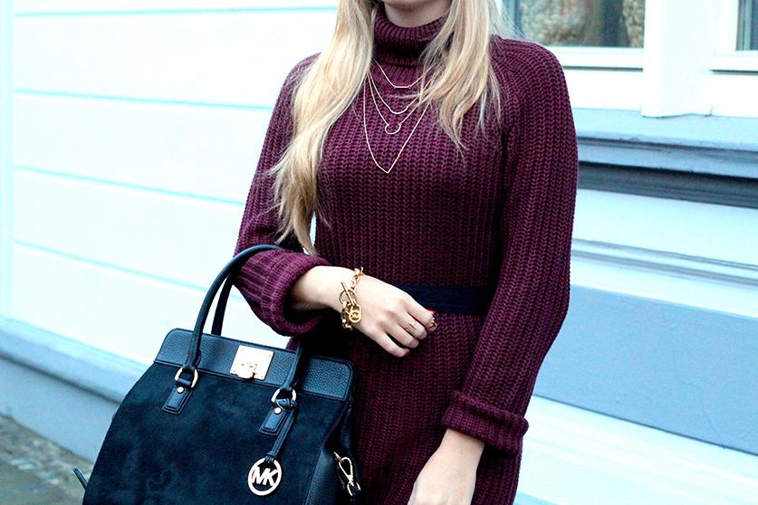 Herbst Outfit Wollkleid mit schwarzer Michael Kors Tasche Modeblog Deutschland Köln T