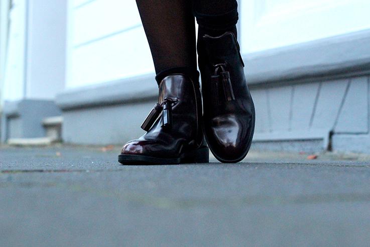 Herbst Outfit flache Stiefeletten mit Quasten Zara Boots Modeblog Deutschland Köln 6