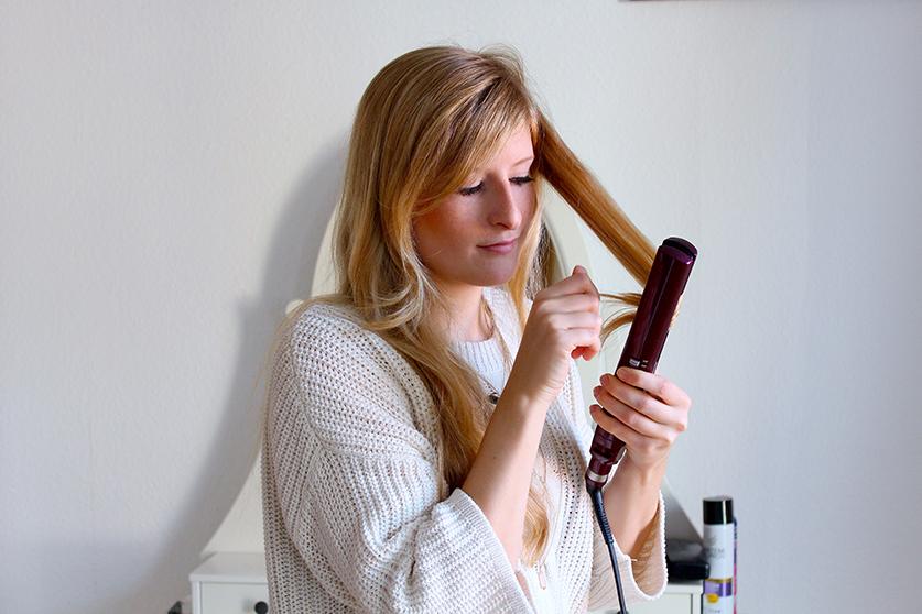 Beauty Blog Weihnachtsfrisur BaByliss Haarglätter iPro 230 Steam Haar Tutorial Locken machen Glätteisen