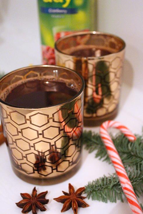 Cranberry Adventspunsch Rezept weihnachtlicher Mädelsabend Interior Glas Zimt Saft Zuckerstange