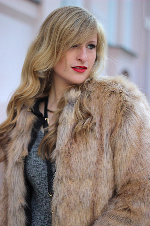 MBFW OOTD Berlin Outfit Layering Asos Fake Fur Jacke Felljacke braun kombinieren streetstyle 4