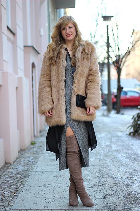 MBFW OOTD Berlin Outfit langes Wollkleid Asos Overknees Fake Fur Jacke Felljacke Zara streetstyle 1