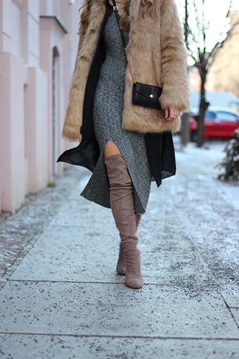 MBFW OOTD Berlin Outfit langes Wollkleid Asos Overknees Fake Fur Jacke Felljacke Zara streetstyle 3
