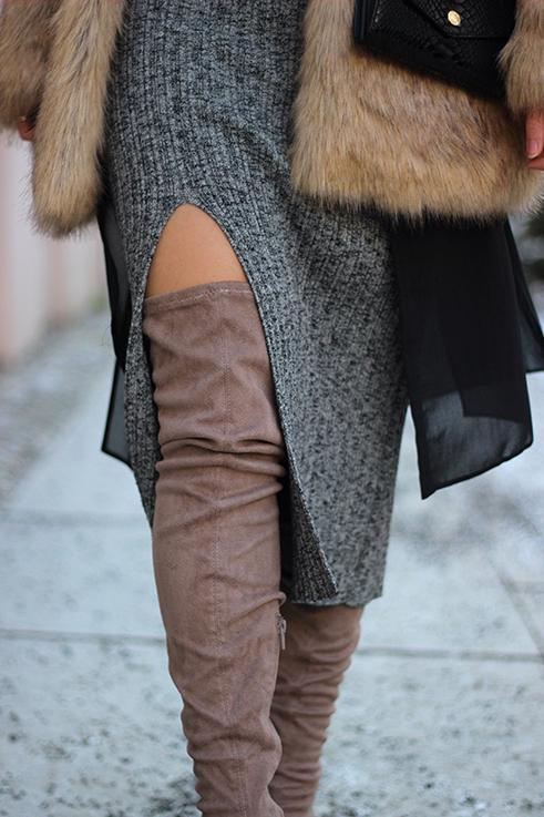 MBFW OOTD Berlin Outfit langes Wollkleid Asos Overknees Fake Fur Jacke Felljacke Zara streetstyle 7