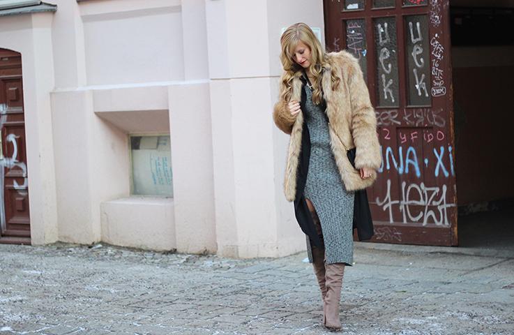 MBFW OOTD Berlin Outfit langes Wollkleid Asos Overknees Fake Fur Jacke Felljacke Zara streetstyle t