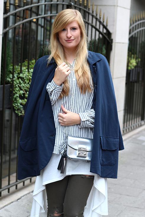 Blusen Layering OOTD kombinieren Stoff-Cape grüne Ripped Jeans Brüssel Modeblog 92