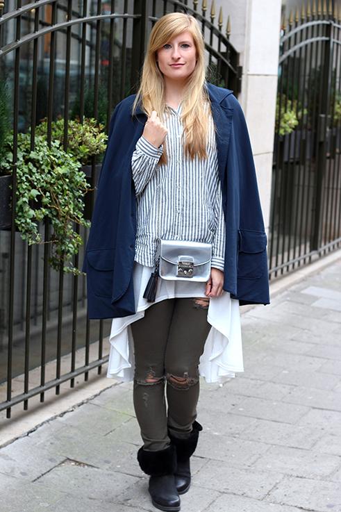 Blusen Layering mit Vokuhila Shirt Stoff-Cape grüne Ripped Jeans Brüssel Modeblog 1