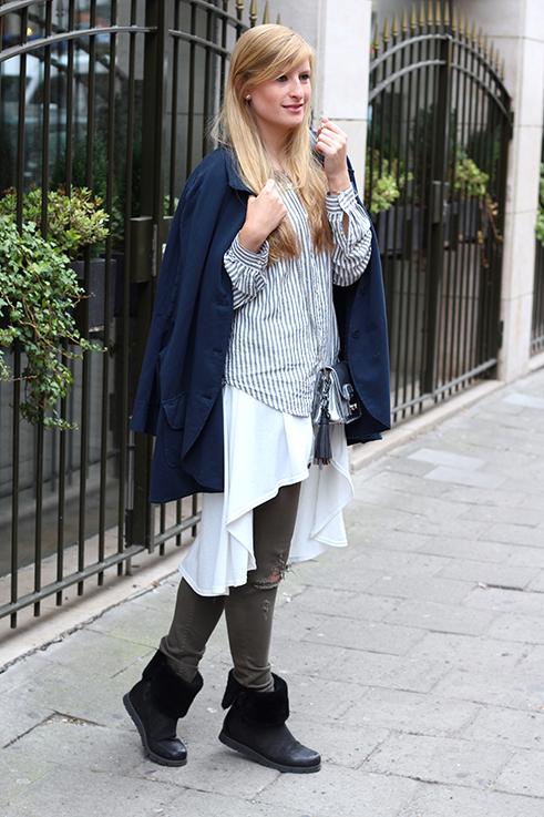 Blusen Layering mit Vokuhila Shirt Stoff-Cape grüne Ripped Jeans Brüssel Modeblog 4