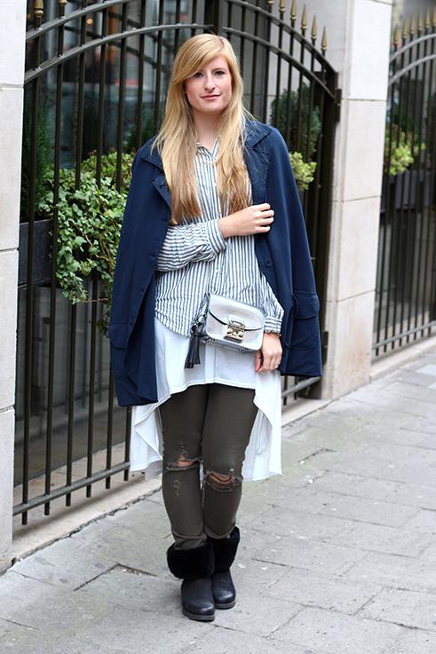 Blusen Layering mit Vokuhila Shirt Stoff-Cape grüne Ripped Jeans Brüssel Modeblog 9