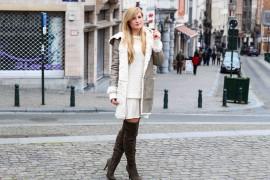 Grüne Overknees Zara Ledermantel Overknee Stiefel Nude Wollkleid Fashion Look Modeblog T