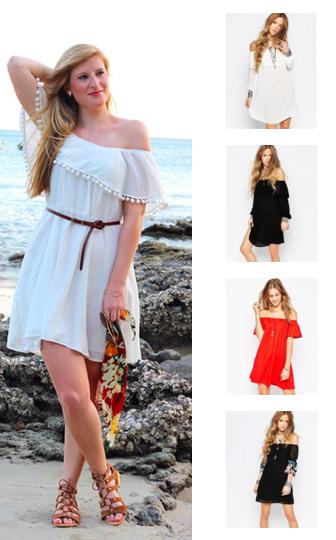 Sommer Trend Off-Shoulder Kleider schulterfrei Modeblog Outfit
