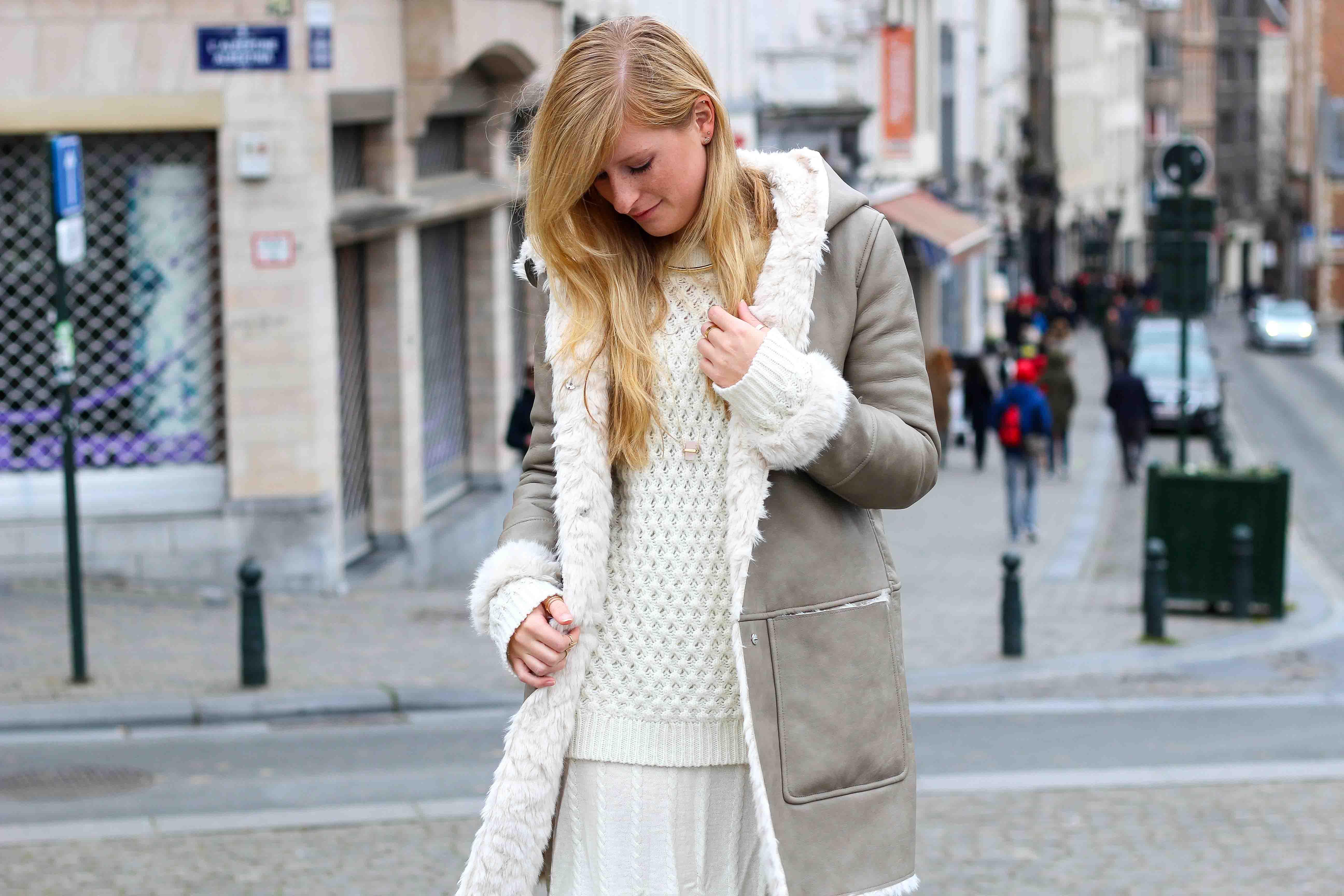 Zara Ledermantel Nude Wollkleid Fashion Look Modeblog 2