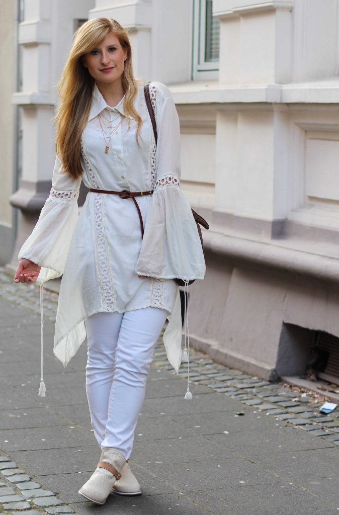 heiße Produkte Heiß-Verkauf am neuesten Keine Verkaufssteuer All White Outfit Frühlingslook Tunika Bluse weiße Hose ...