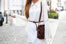 All White Outfit Frühlingslook Tunika Bluse Schlagärmel Modeblog Bonn T
