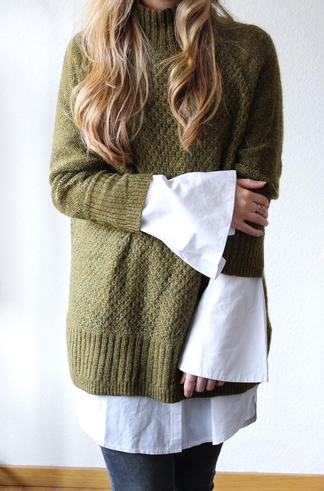 Frühlingstrend Blusentrend Fashion Blog weiße Bluse Trompetenärmel Pullover