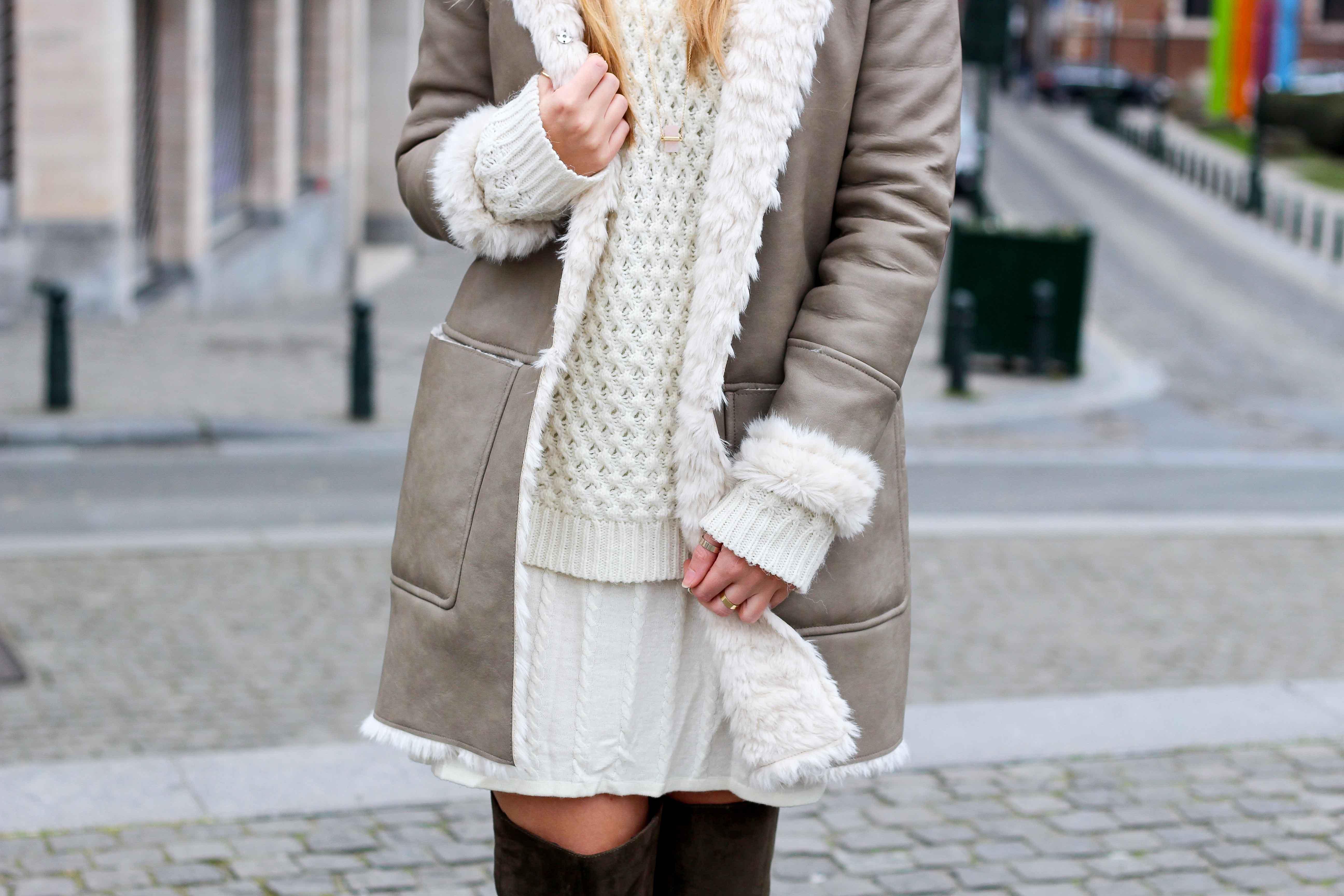 Grüne Overknees Zara Ledermantel Overknee Stiefel Nude Wollkleid Fashion Look Modeblog 9