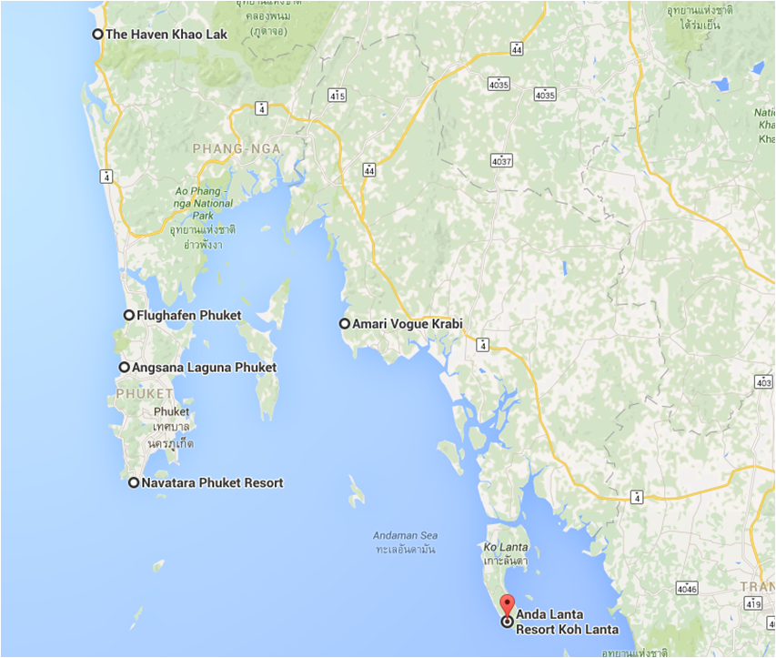 Reiseroute 3-wöchige Thailand-Rundreise Phuket, Khao Lak, Koh Lanta Krabi