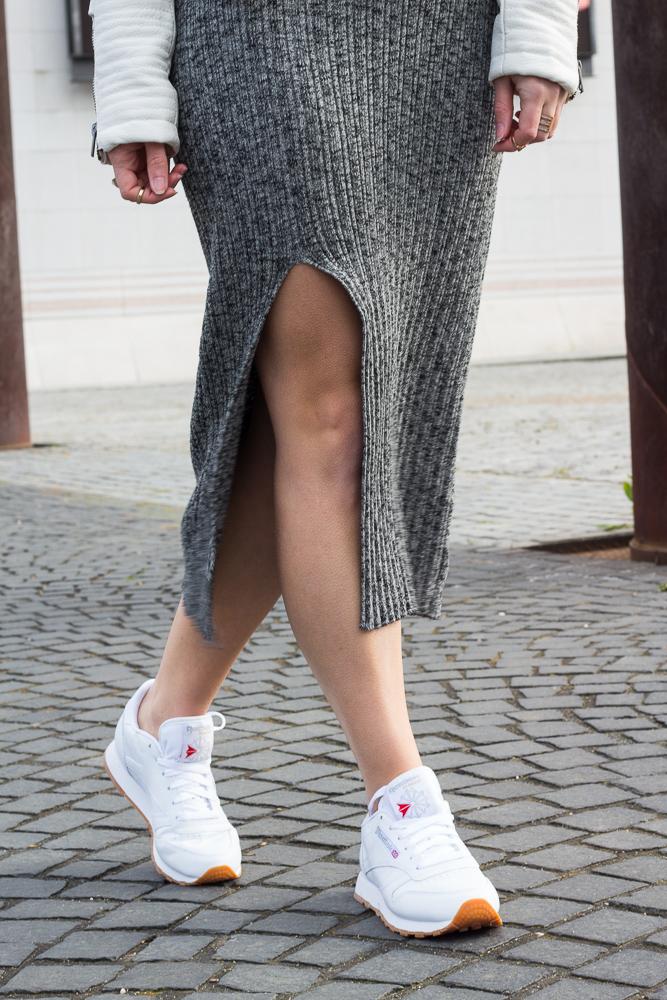 Weiße Sneaker kombinieren Reebok Classic Leather Kendrick Lamar Wollkleid 7