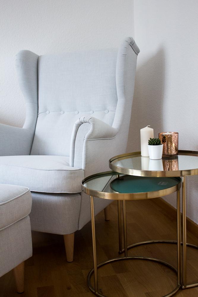 Blogger Arbeitsplatz Modeblogger Interior Sessel Ikea Strandmon Kupfer Tisch Zara Home 1