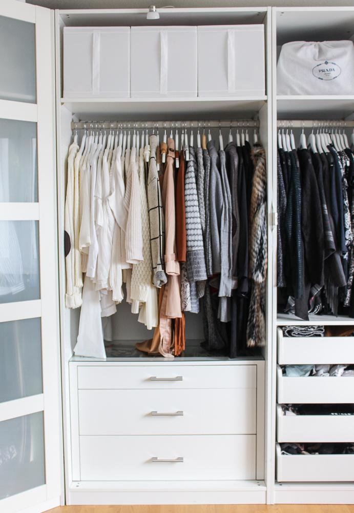 Interior Ankleidezimmer Kleiderschrank offenes System Einrichtung Ikea Pax weiß 2