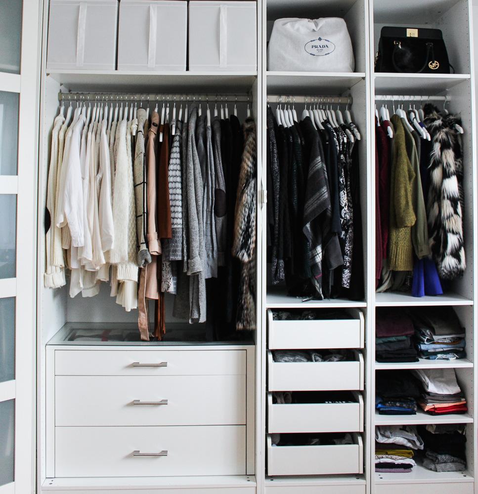 Interior Ankleidezimmer Kleiderschrank offenes System Einrichtung Ikea Pax weiß 3